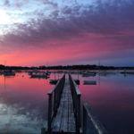 Purple Sky Boats Near Pier